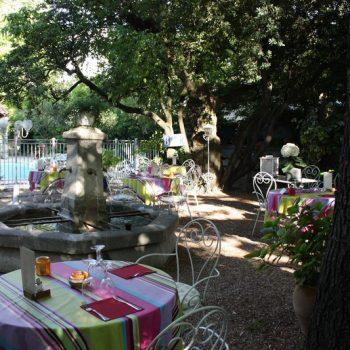 terrasse restaurant avec jardin et piscine proche centre ville Saint Remy de Provence